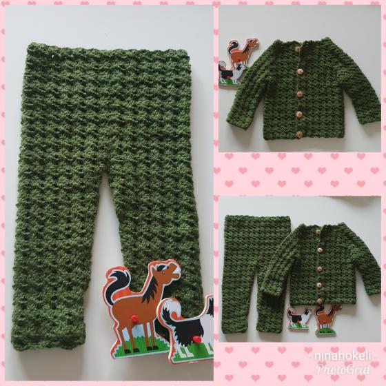 kollasj grønn bukse og jakke