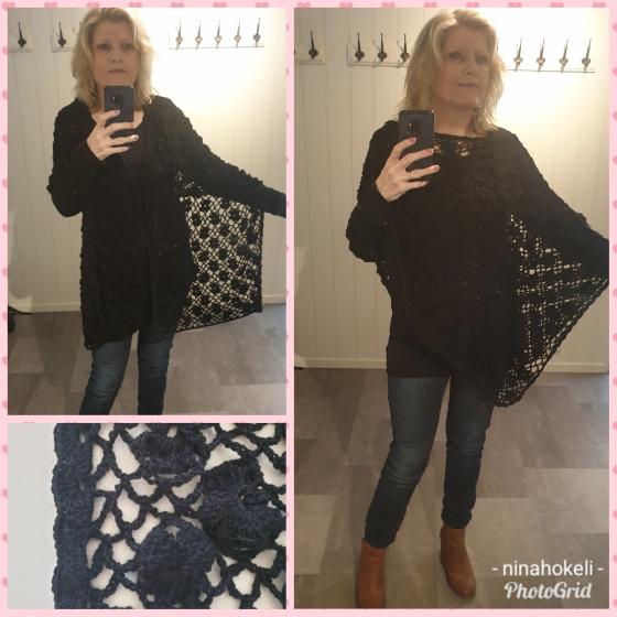 Kollasj svart poncho eller sjal